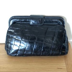 Furla croc embossed black clutch